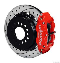Wilwood Chevy 10/12 Bolt 2.75 Offset Rear Disc Brake Kit 12.88 Drill Stagg Red