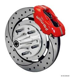 Wilwood 59-64 Impala Front Disc Brake Kit 12.19 Drilled Rotor Red Caliper