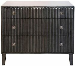 38 Wide Chest Dresser Solid Mahogany Wood Pale Black Finish 3 Drawers Handmade