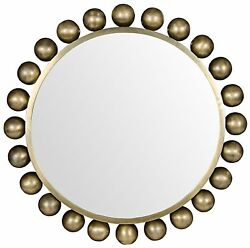 33 Round Wall Mirror Solid Metal Antique Brass Finish Jacobean Style