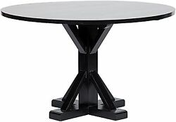 48 Round Dining Table Solid Mahogany Wood Rubbed Black Finish Contemporary