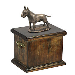 Solid Wood Casket Bull Terrier Memorial Urn for Dog's asheswith Dog statue.