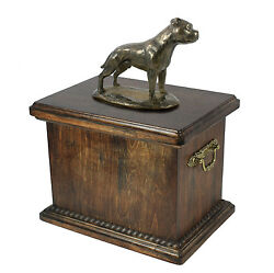 English Staffordshire Bull Terrier Memorial Urn for Dog's asheswith Dog statue.