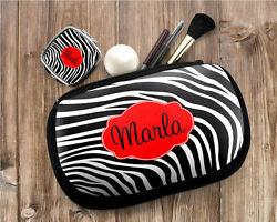 Personalized Monogrammed Zebra Cosmetic Makeup Small Device Bag