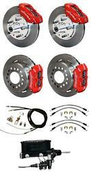 70-73 Mustang Wilwood Manual 4 Wheel Disc Brake Kit 11 Rotors Red Caliper