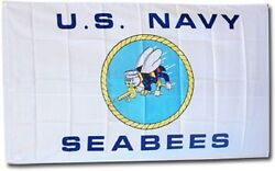 Wholesale Lot Pack Of 5 3x5 3and039x5and039 Navy Seabees Us Navy White Flag Banner