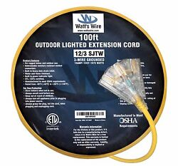 100and039 12/3 Lighted Heavy Duty 3 Outlet Sjtw Extension Cord - 12 3 100ft In/outdr