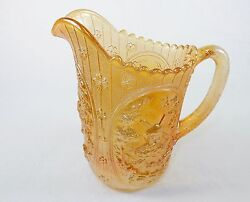 Vintage Glass Water Pitcher Marigold, Windmill Pattern, Imperial Glass, Signed