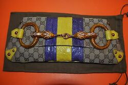 Authentic Tom Ford for Gucci GG Monogram Snake Horsebit Crocodile Clutch