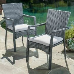 Tigua Outdoor Grey Wicker Dining Chair With Cushions Set Of 2
