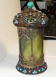 Rare Old Chinese Silver Cloisonne Enamel Jade Gemstones Canister Caddy Jar Box