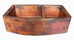 Rounded Apron Front Farmhouse Kitchen Double Bowl Mexican Copper Sink 60/40 22