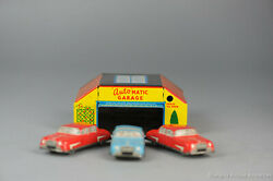 Antique Tin Toy Uk Great Britain Garage With Threee Cars Press Button Automati