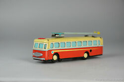 Antique Red China Tin Toy Prc Chinese Ms 705 Trolley Bus Shanghai Mf Me Ms Old