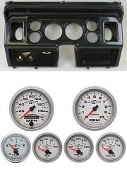80-86 Ford Truck Carbon Dash Carrier W/ Auto Meter 3-3/8 Ultra-lite Ii Gauges