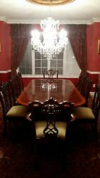 English Chippendale Mahogany Diningroom Table With 10 Chairs