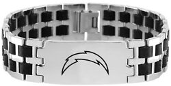 Nfl Los Angeles Chargers Stainless Steel Logo And Rubber Link Id Bracelet Jewelry