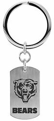 Nfl Chicago Bears Stainless Steel Logo Dog Tag Key Ring Jewelry New