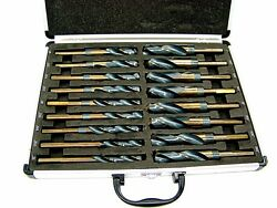 17pc Large Size Drill Bit Set Industrial Steel Black and Gold Silver And Deming $71.99