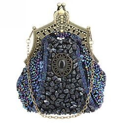 Vintage Womens Beading Stone Clutches Handbag Elegance Evening Party Bags Purses