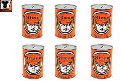 Quart Size Oilzum Steel Motor Oil Can Coin Bank 6 Pack Set