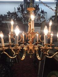 Chandelier Two Tier 12 Candle Powder Coat Finish