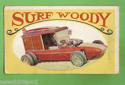 D298. 1970 Scanlens Way-out Wheels Large Card 17 Surf Woody, Hotrod