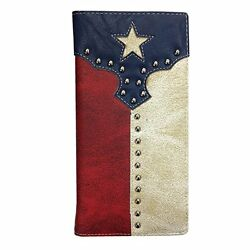 Mens Wallet Texas Flag Western Bifold Check Book Style W017  $13.99