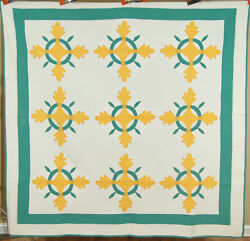 Elegant Vintage 30and039s Yellow And Green Oak Reel Applique Antique Quilt Classic