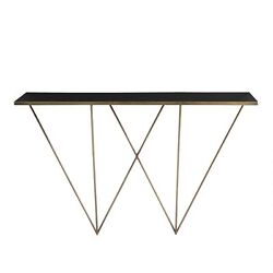 53 Long Console Table Modern Gold Black Antique Brass Finish Solid Iron Glass