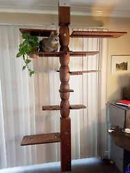 One Of Kind 8' Redwood/pine/oak Cat Tree With Adjustable Levelers.