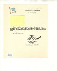 Colin Powell Autographed 6x7 Letter  Joint Chiefs Of Staff Letterhead  Jsa
