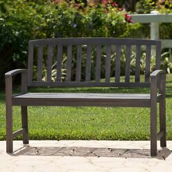Laguna Outdoor Rustic Acacia Wood Bench With Open Slat Backrest