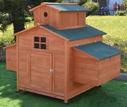 Deluxe Large Wood Chicken Coop Backyard Hen House 6-10 Chickens w 6 nesting box