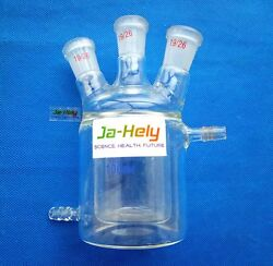 50ml To 3000ml Flat Bottom Double Wall Glass Tempering Jacketed Reaction Flask
