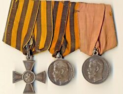 Antique Imperial Russian Order St George Silver Cross And 2 Medals Orig 2284