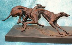 Big Running Lurcher Greyhound Dogs Bronze Signed By Sculptor Brian Andrew 1 Of 3
