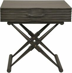 28 Set Of Two Side Table End Solid Mahogany Wood Pale Black Finish 1 Drawer