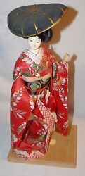 Vintage Japanese Geisha Doll Display Porcelain Hat On Stand 17 Inches 17 Great