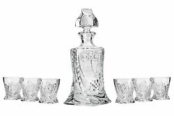 28 Oz. Crystal Cut Decanter And Six 11 Oz. Classic Whisky Scotch/brandy Tumblers