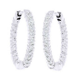 1 Ct Round Cut Natural Diamond Inside Out Hoop Earrings In 14k White Gold -igi-