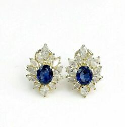 5.13 Carats T.w. Marquise Diamond And Sapphire Cocktail Dinner Earrings 14kgold