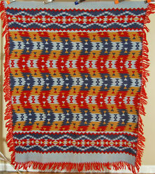 Gorgeous Vintage 40s Beacon Camp Blanket Great Colors And Zigzag Indian Design