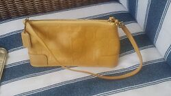 Coach leather mustard convertible clutch shoulder bag