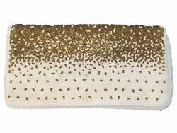 Walborg Beaded Clutch Evening Bag White and Gold Chain Strap Vintage Hong Kong