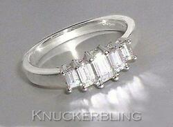Genuine Diamond 5 Stone Engagement Ring 0.64ct Emerald Cut In 18ct White Gold
