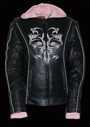 Ladies 3/4 Jacket W/ Reflective Tribal Detail -fleece Hood-all Sizes Available-