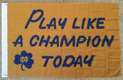 Notre Dame Fighting Irish Play Like A Champion Today 3#x27;x5#x27; Polyester Flag Banner