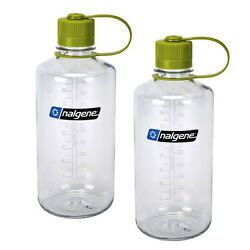 Nalgene Narrow Mouth 1 Qt Everyday Water Bottle Clear W/ Green Lid - 2 Pack