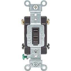10 Pk Leviton Brown 15a Grounded Quiet 4-way Toggle Light Switch 014-54504-002